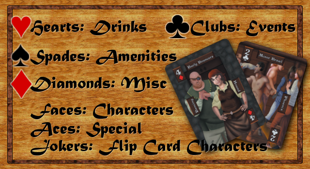 hearts: drinks; spades: amenities; clubs: events; diamonds: mics;