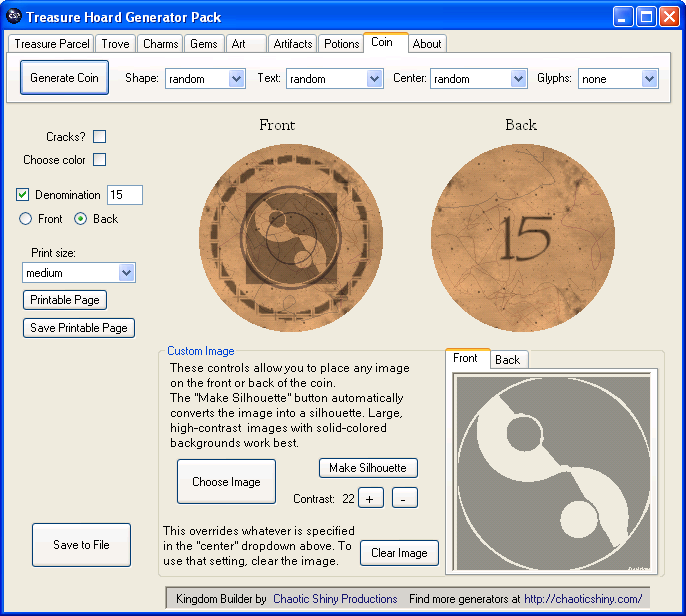 treasure hoard coin generator screenshot